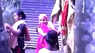 South Indian Mallu Taking Bath Outside Video part-6