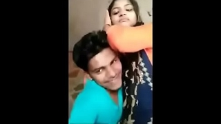 Indian school girl outdoor kissing