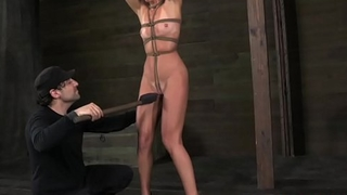 Over arm tied India Summer dildo fucked