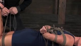 BDSM sub India Summer on floor tied up