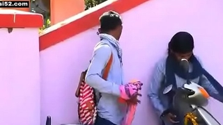 Desi Indian long hair teen school girl outdoor