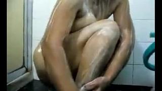 Chubby Indian Wife Washing Her Body